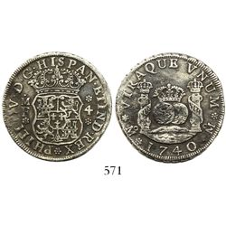 Mexico City, Mexico, pillar 4 reales, Philip V, 1740MF, wide date, no moulding on tops of pillars.