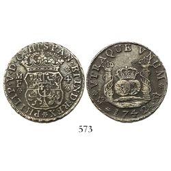 Mexico City, Mexico, pillar 4 reales, Philip V, 1742MF with 4/3, very rare.