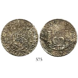 Mexico City, Mexico, pillar 4 reales, Philip V, 1742MF, wide date.