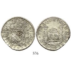 Mexico City, Mexico, pillar 4 reales, Philip V, 1743MF.