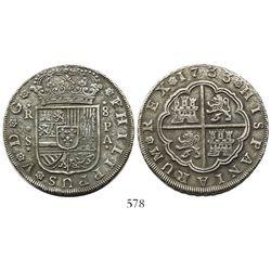 Seville, Spain, milled 8 reales, Philip V, 1733PA.