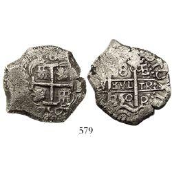 Potosi, Bolivia, cob 8 reales, 1750E.