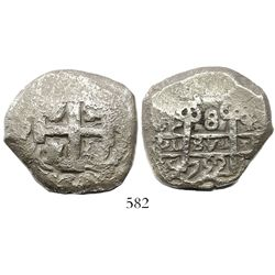 Potosi, Bolivia, cob 8 reales, 1752q.