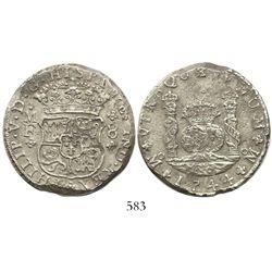 Mexico City, Mexico, pillar 8 reales, Philip V, 1744MF, ex-Holmes.