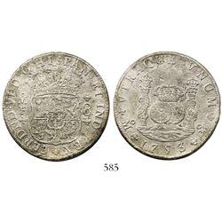Mexico City, Mexico, pillar 8 reales, Ferdinand VI, 1753MF.