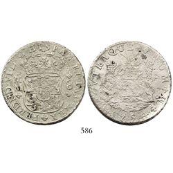 Mexico City, Mexico, pillar 8 reales, Ferdinand VI, 1754MM, unalike crowns.