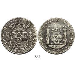 Mexico City, Mexico, pillar 8 reales, Philip V, 1746MF.