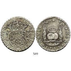 Mexico City, Mexico, pillar 8 reales, Ferdinand VI, 1749MF, normal date.
