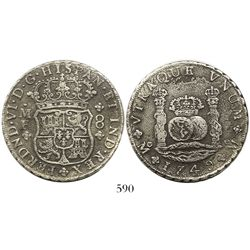Mexico City, Mexico, pillar 8 reales, Ferdinand VI, 1749MF, wide date.