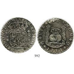 Mexico City, Mexico, pillar 8 reales, Ferdinand VI, 1751MF.