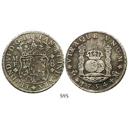 Mexico City, Mexico, pillar 8 reales, Ferdinand VI, 1754MF, both royal crowns, rare.