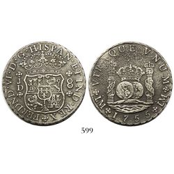 Lima, Peru, pillar 8 reales, Ferdinand VI, 1755JD.