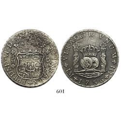 Lima, Peru, pillar 8 reales, Ferdinand VI, 1756JM, dots over both mintmarks.