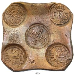 "Swedish copper ""plate money"" 1/2 daler, Fredrik I, 1727."