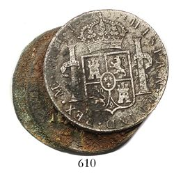 Clump of 3 Spanish colonial bust 8R (probably Lima, Peru, 1800IJ), uncleaned as found except for one