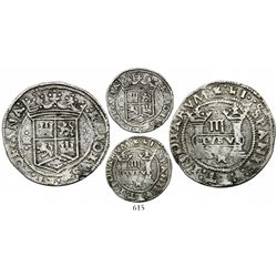 "Mexico City, Mexico, 3 reales, Charles-Joanna, ""Early Series,"" assayer Gothic R between bottoms of p"
