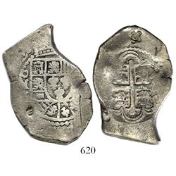 Mexico City, Mexico, cob 8 reales, (17)22(J), rare, with 5-petal flower countermark (1 real batu, 18