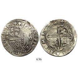 Lima, Peru, cob 8 reales, Philip II, assayer Diego de la Torre, *-8 (round top) to left, P-oD to rig
