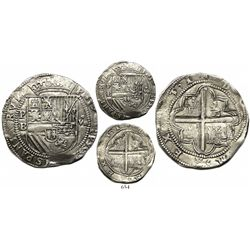 "Potosí, Bolivia, cob 8 reales, Philip II, assayer B (2nd period), ""Great Module."""