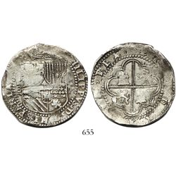 "Potosi, Bolivia, cob 8 reales, Philip II, assayer B (2nd period), ""Great Module."""