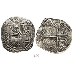 Potosi, Bolivia, cob 8 reales, Philip III, assayer Q.
