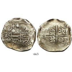 Potosi, Bolivia, cob 8 reales, Philip IV, assayer Z, no countermark, rare.