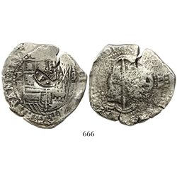 Potosi, Bolivia, cob 8 reales, Philip IV, assayer E (1521-2), crowned-dot-F-dot countermark on shiel
