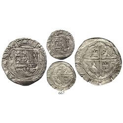 Potosi, Bolivia, cob 2 reales, Philip II, assayer R (Rincon) to left.