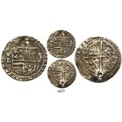 Potosi, Bolivia, cob 1 real, Philip II, assayer L to left, Plate Coin in Sellschopp (under Lima).