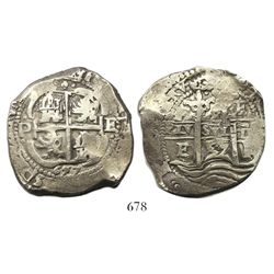 Potosi, Bolivia, cob 8 reales, 1657E, pomegranate at top on both sides.