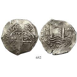 Potosi, Bolivia, cob 8 reales, 1664E.