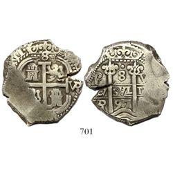 Potosi, Bolivia, cob 8 reales, 1697VR.