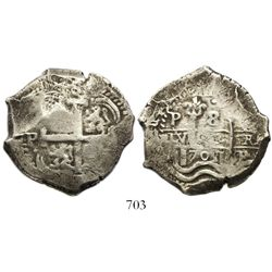 Potosi, Bolivia, cob 8 reales, 1701(F or Y).