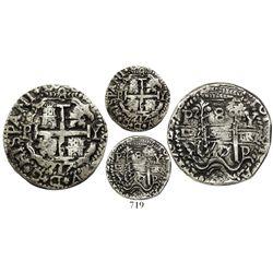 Potosi, Bolivia, cob 8 reales Royal, 1717Y, rare, Lazaro Plate Coin.