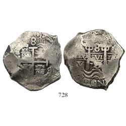Potosi, Bolivia, cob 8 reales, 1725Y, (Louis I), rare.