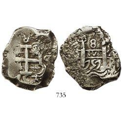 Potosi, Bolivia, cob 8 reales, 1757q.