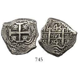 Potosi, Bolivia, cob 4 reales, 1748q, ex-Huntington.