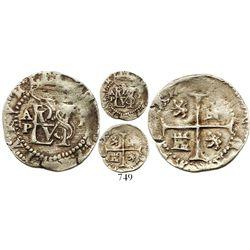 Panama, cob 1/2 real, Philip II, assayer oX to right, mintmark AP to left, quadrants of cross transp