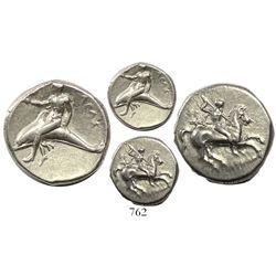 """Calabria, Tarentum, AR nomos, circa 280 BC, """"boy on dolphin."""""""