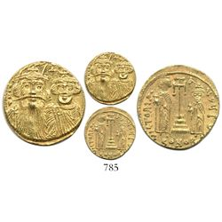 Byzantine Empire, AV solidus, Constant II with Constantine IV, 641-668 BCE.