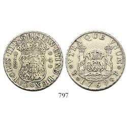Potosi, Bolivia, pillar 4 reales, Charles III, 1769JR, fancy 9, round-top 6 over straight 6 in date
