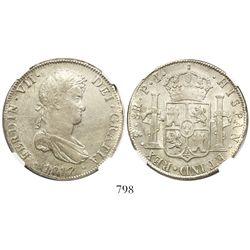 Potosi, Bolivia, bust 8 reales, Ferdinand VII, 1817PJ, encapsulated NGC AU 55.