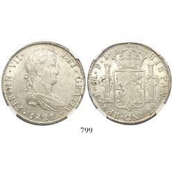 Potosi, Bolivia, bust 8 reales, Ferdinand VII, 1821PJ, encapsulated NGC AU 58.