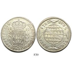 Brazil (Bahia mint), 960 reis, Joao Prince Regent, 1812-B, struck over a Valencia, Spain, 8 reales,