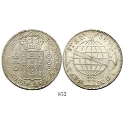 Brazil (Rio mint), 960 reis, Joao Prince Regent, 1815-R, struck over a Potosi, Bolivia, bust 8 reale