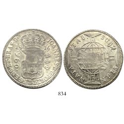 Brazil (Bahia mint), 960 reis, Joao Prince Regent, 1816-B, struck over a Lima, Peru, bust 8 reales,