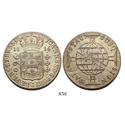 Brazil (Bahia mint), 960 reis, Joao Prince Regent, 1816-B, struck over a Cadiz, Spain, 8 reales, 181