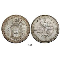 Brazil (Bahia mint), 960 reis, Joao Prince Regent, 1816-B, struck over a Seville, Spain 8 reales, 18