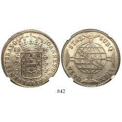 Brazil (Bahia mint), 960 reis, Joao Prince Regent, 1816-B, encapsulated NGC MS 63.