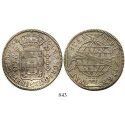 Brazil (Rio mint), 960 reis, Joao Prince Regent, 1816-R, struck over a Mexico City, Mexico, bust 8 r